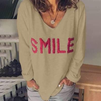 Fashion Word Embroider V neck Long sleeve T-Shirts