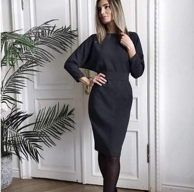 Fashion Pure V neck Long sleeve Fastener Lacing Bodycon Dresses