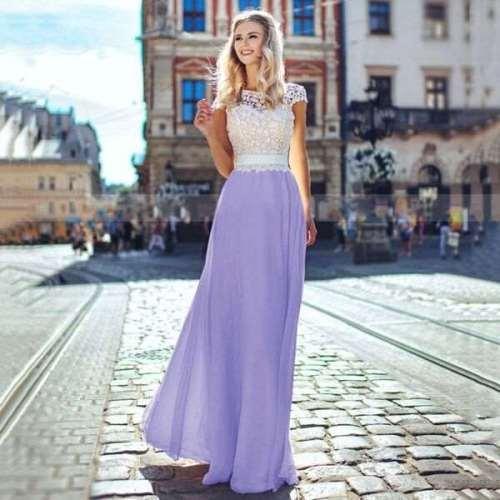 Fashion Lace Round neck Short sleeve Gored Maxi Dresses