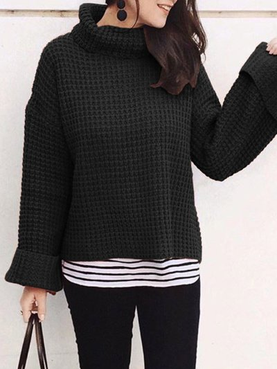 Solid Color Turtleneck Woman Sweater
