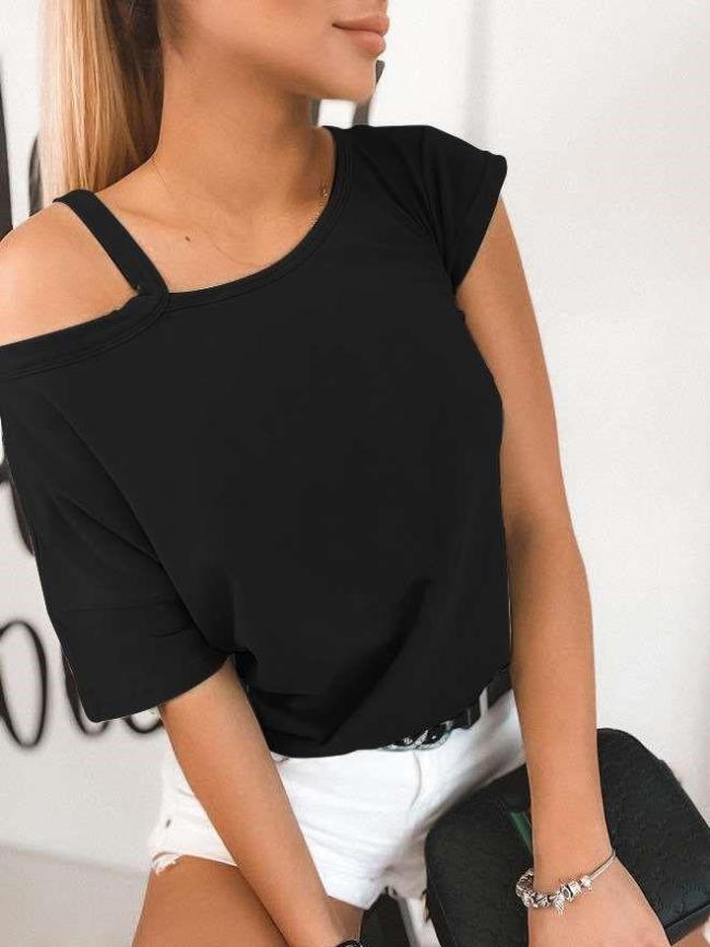 Fashion Casual Off shoulder Short sleeve T-Shirts