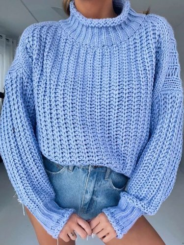 Casual Pure Hollow out High collar Sweaters