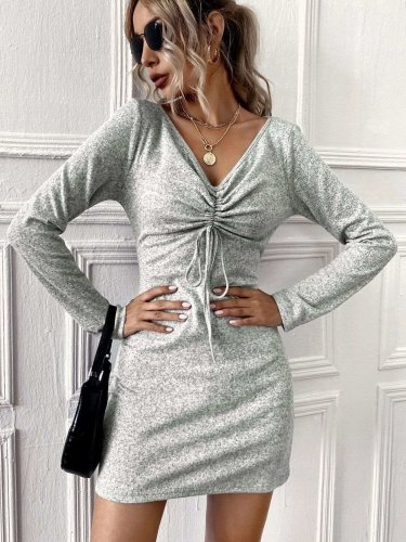 Fashion Sexy Pure V neck Long sleeve Bodycon Dresses