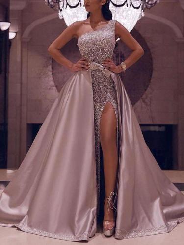 Sexy Single-shoulder Sleeveless Big hem Evening Dresses