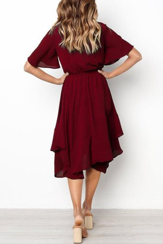 Fashion  Round neck Short sleeve Skater Dresses