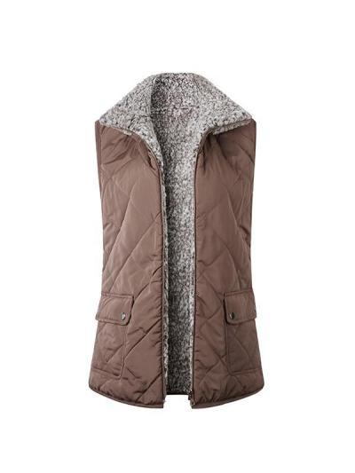 Zipper double pocket blouse wam vest waistcoat