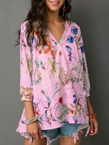 Fashion Floral V neck Loose Blouses