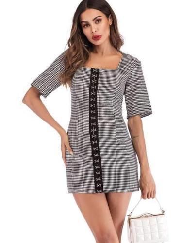 Fashion Short sleeve Plaid Shift Dresses