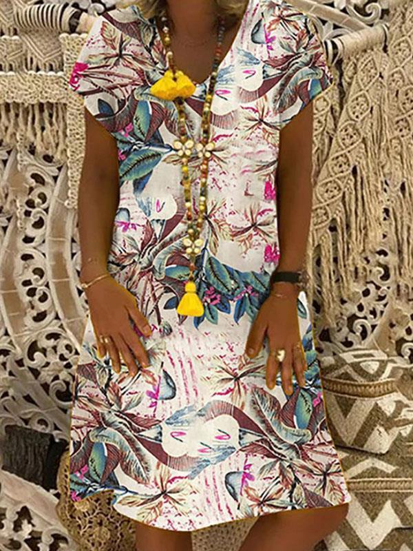 V neck short sleeve printed floral women shift dresses