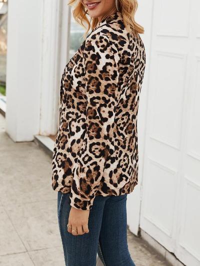 Fashion turn down long sleeve leopard printed blazers