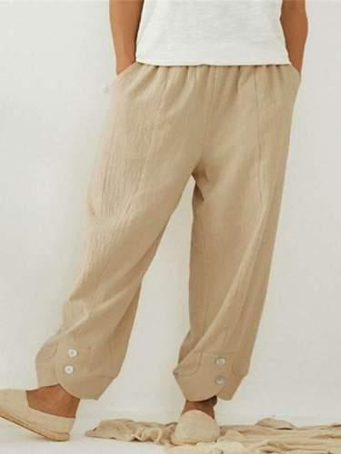 Casual women cotton blend plain long pants