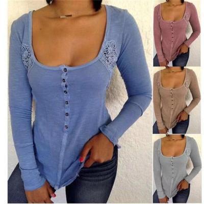 Deep U Neck Long Sleeve Lace Patchwork Button T-Shirts