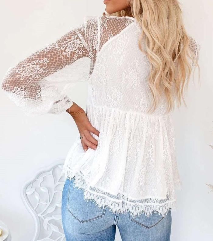 Casual Sexy Lace V neck Long sleeve Lacing T-Shirts