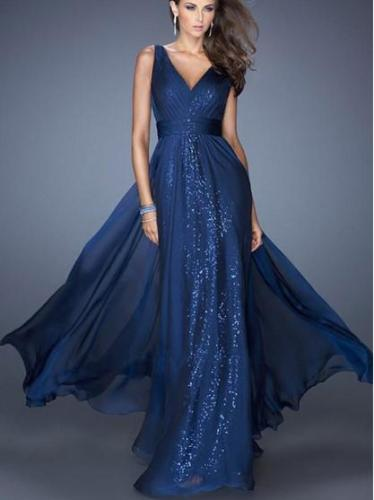 Fashion V neck Backless Evening Dresses