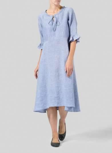 Fashion Pure Round neck Lacing Half sleeve Falbala Maxi Dresses