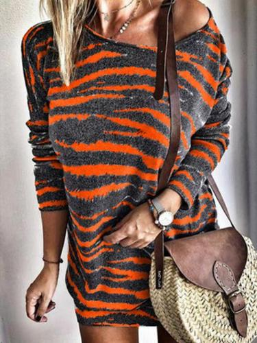 Round neck stripe printed long sleeve large size shift dresses