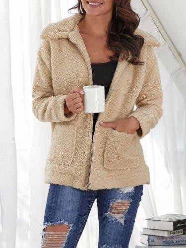 Women Plush Lapel Wool Coats