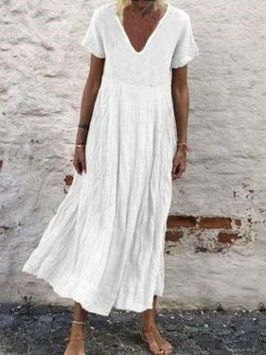 Casual Pure V neck Short sleeve Gored Maxi Dresses