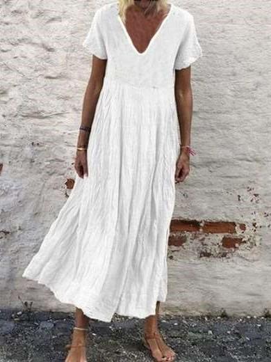 Casual Pure V neck Short sleeve Gored Maxi Dresses