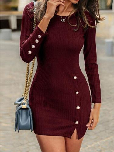 Sexy women round neck button decoration bodycon dresses