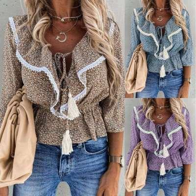 Fashion Casual Loose Print Round neck Falbala Macrame Blouses