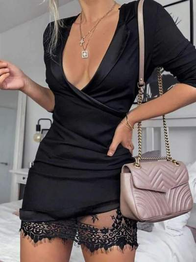 Sexy Lace Gored V neck Long sleeve Shift Dresses