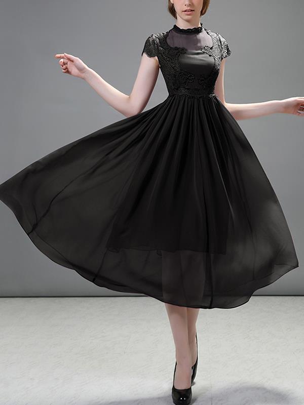 Women Elegant Chiffon Skater Short Sleeve Evening Dresses