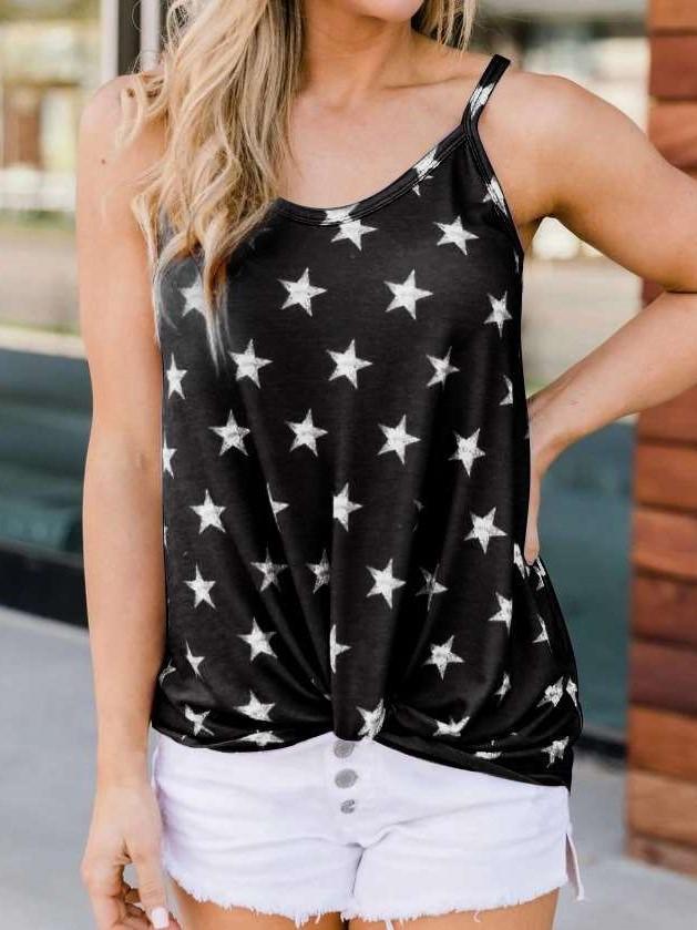 Fashion Print Round neck Sleeveless Vest T-Shirts