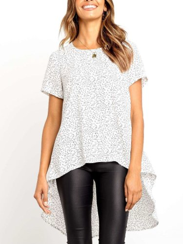 Fashion Print Round neck Short sleeve Swallow-tailed T-Shirts