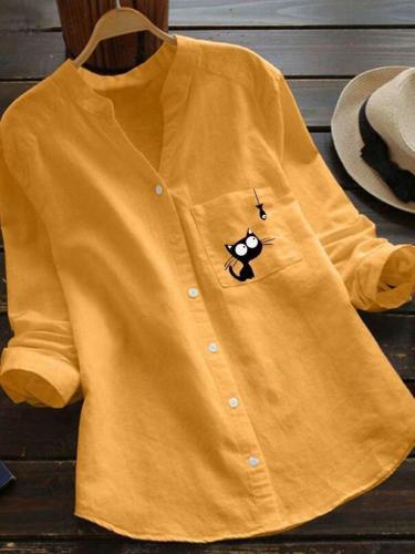 Fashion Casual Pocket Print V neck Long sleeve Women Blouses