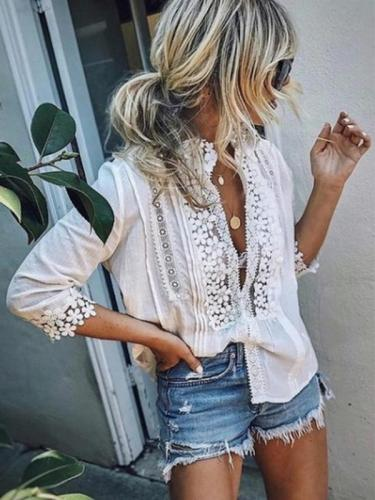 SWEET MARY CROCHET LACE LOOSE BLOUSES