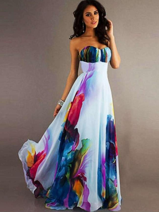 Fashion Print Vest Maxi Dresses