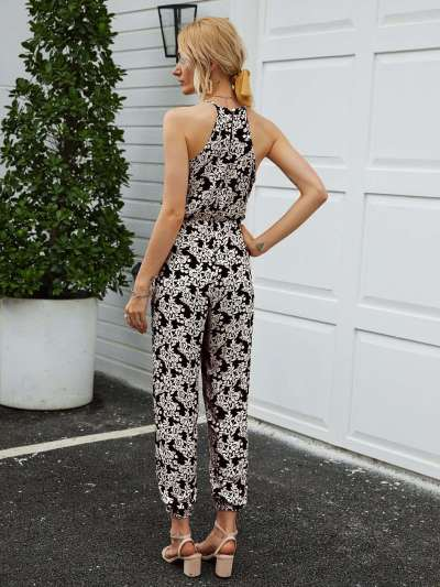 Fashion Print V neck V neck Sleeveless Jumpsuits
