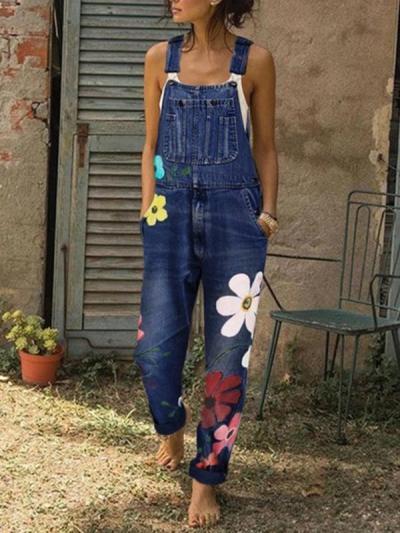 Women stylish demin long strap blue jumpsuits