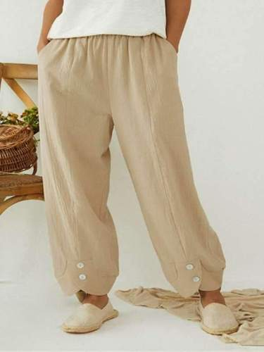 Casual women cotton blend plain long pants