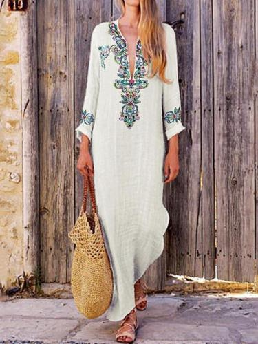 Cotton and linen women  long-sleeved folk style printed maxi dresses