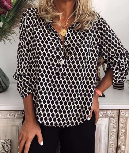 Fashion Plaid print Lapel Long sleeve Blouses