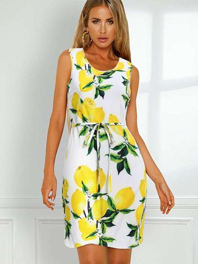 Fashion Sexy Print Round neck Vest Lacing Shift Dresses