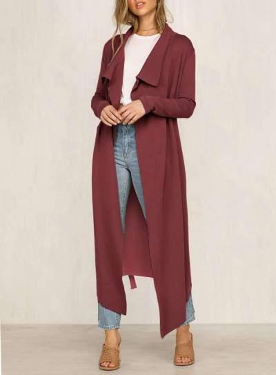 Fashion Lapel Lacing Long sleeve Trench Coats