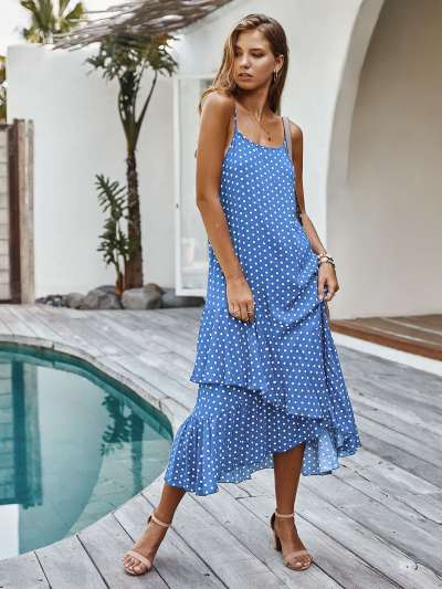 Casual Point print Vest  Falbala Maxi Dresses