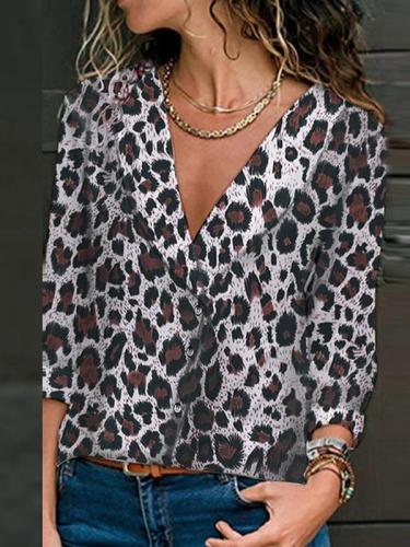 Loose leopard printed long sleeve blouses