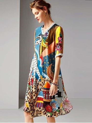 Casual Print V neck Half sleeve Vacation Dresses