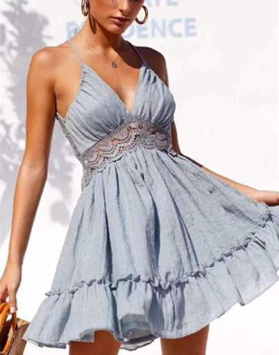 Fashion Pure Lace Hollow out V neck Sleeveless Backless Skater Dresses