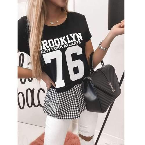 Fashion Plaid Gored Short sleeve Round neck T-Shirts
