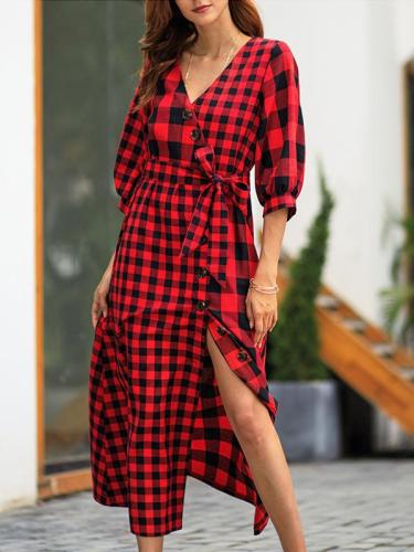 Plaid Half-sleeved vintage maxi dress