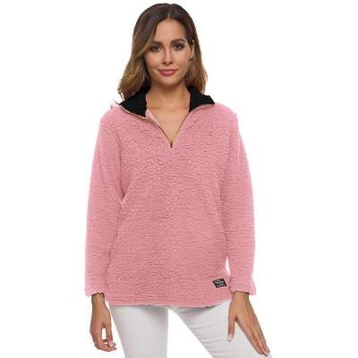 Fashion High collar Zipper Plush Long sleeve Sweatshirts