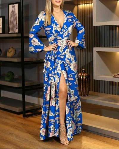 Fashion Print V neck Long sleeve Skater Maxi Dresses