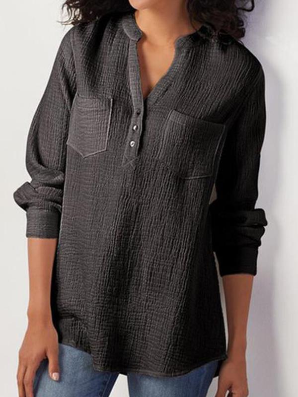 Plain v-neck pocket cotton and linen blend blouses