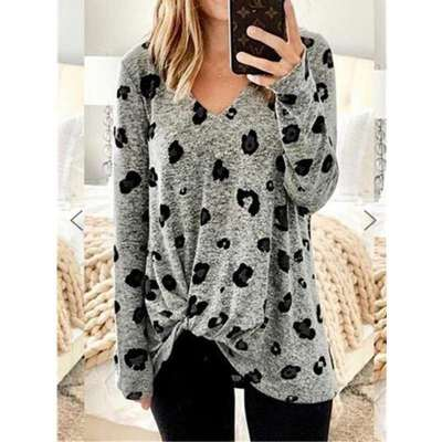 Print V neck Long sleeve Snarl T-Shirts