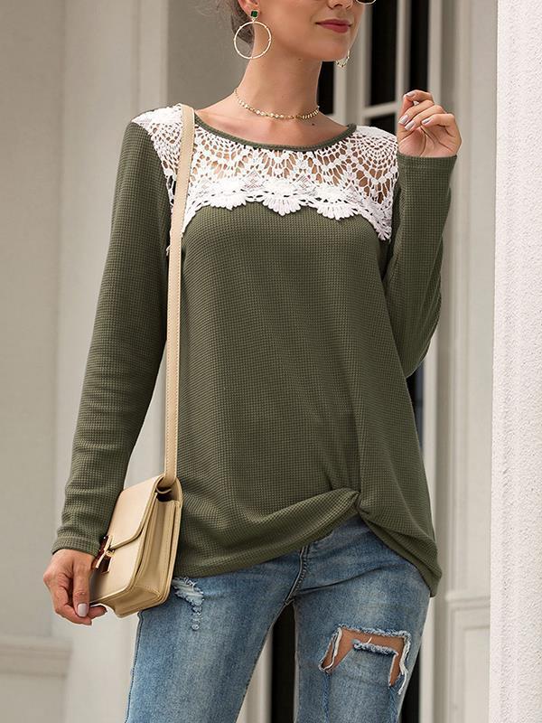 Women lace long sleeve round neck T-shirts